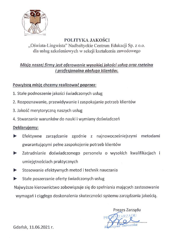 Polityka jakości Oświata-Lingwista Nadbałtyckie Centrum Edukacji dla usług szkoleniowych